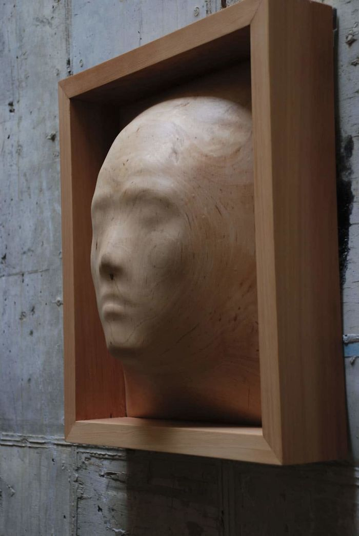 tung ming chin amazing wood sculptures self-portrait face