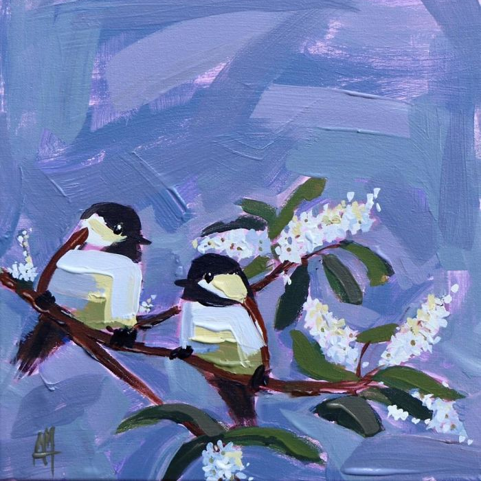 two birds oil paintings bird art Angela Moulton