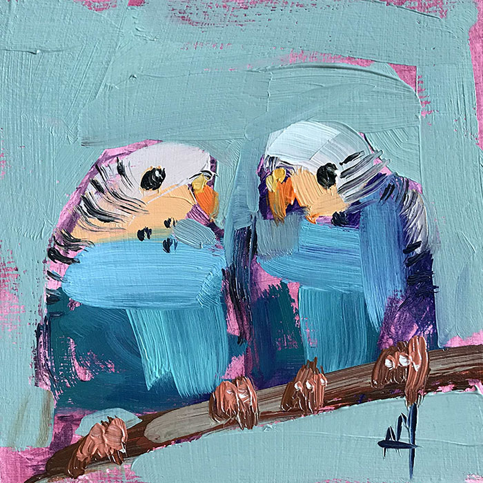two blue birds oil paintings bird art Angela Moulton