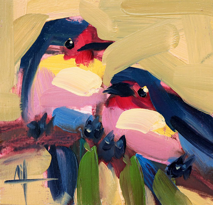 two colorful birds oil paintings bird art Angela Moulton