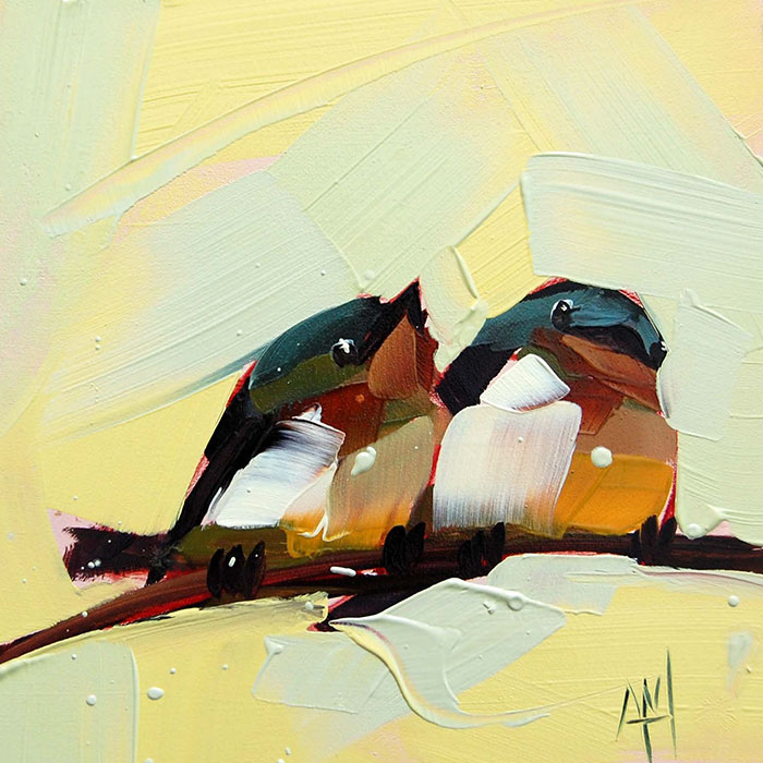 two cute birds oil paintings bird art Angela Moulton