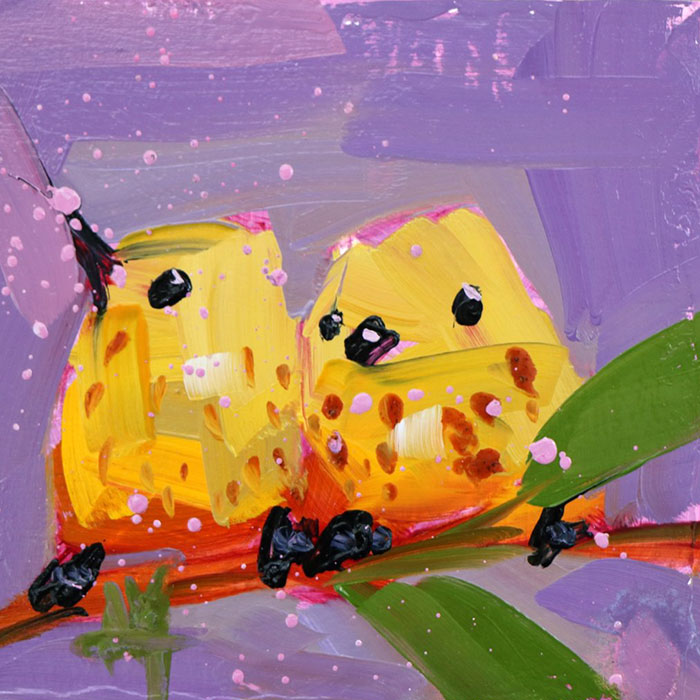 two cute yellow birds oil paintings bird art Angela Moulton