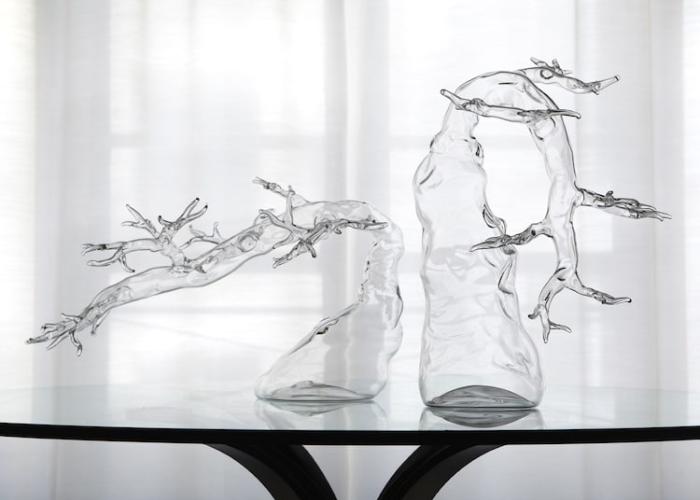 two simone crestani blown glass sculptures