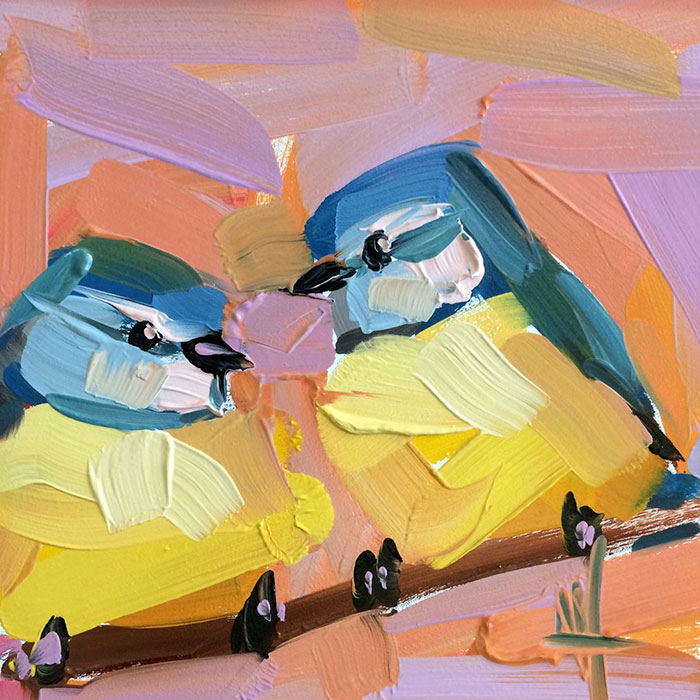 two yellow blue birds oil paintings bird art Angela Moulton
