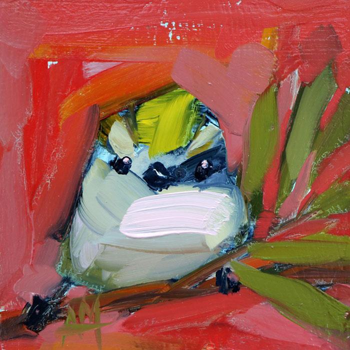 white aginst rose pink oil paintings bird art Angela Moulton