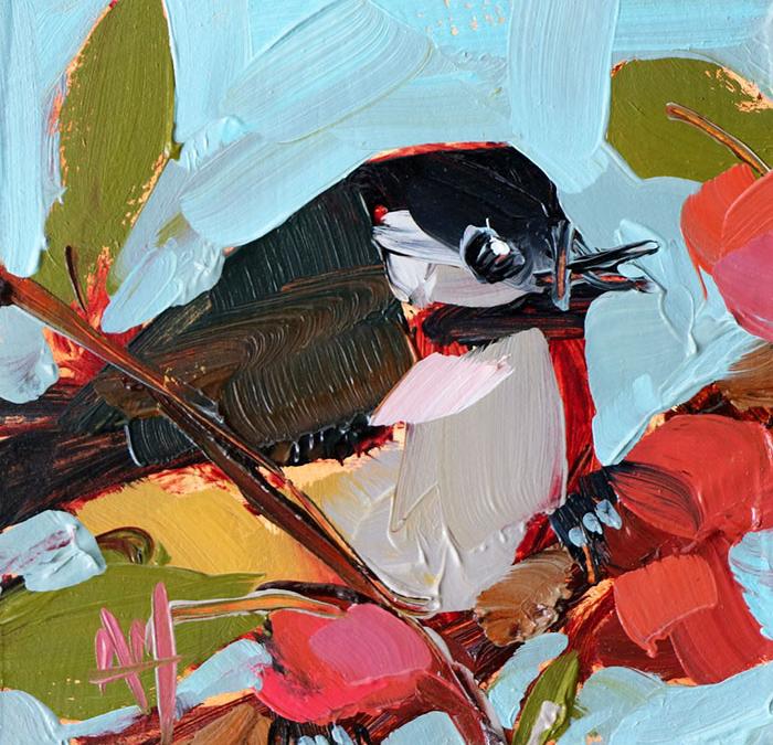 white black oil paintings bird art Angela Moulton