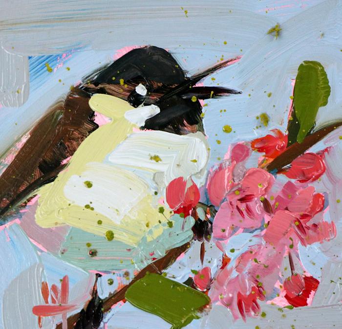 white brown oil paintings bird art Angela Moulton