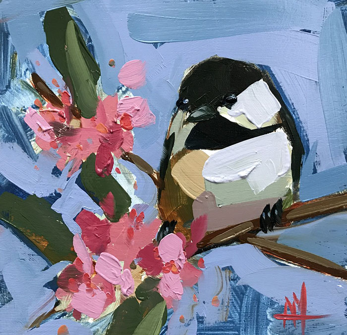with flower oil paintings bird art Angela Moulton