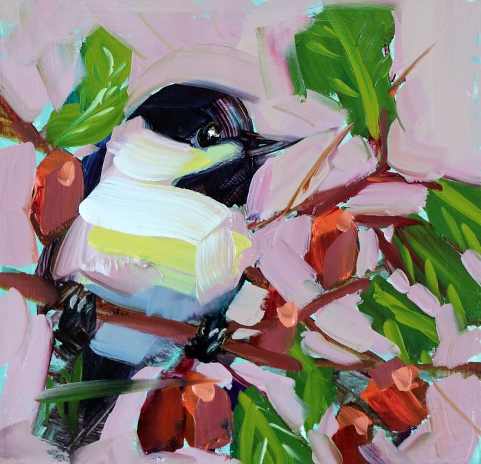 with flowers background oil paintings bird art Angela Moulton