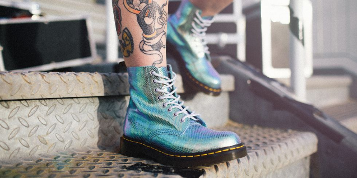 worn blue variant doc martens iridescent 1460 pascal and holly boots