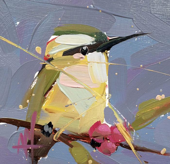 yellow against dark blue oil paintings bird art Angela Moulton