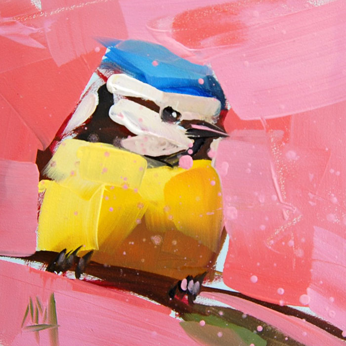 yellow blue against pink oil paintings bird art Angela Moulton