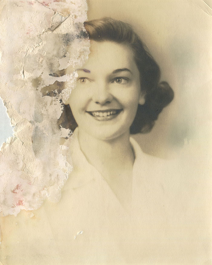 young woman destroyed photoshop photo restoration michelle spalding