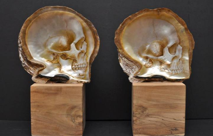 2 samples gregory halili shell skull carvings
