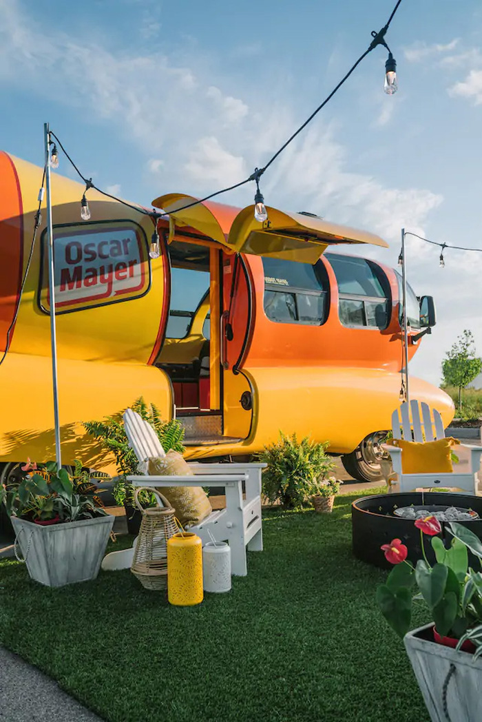 airbnb oscar mayer wienermobile adjacent outdoor