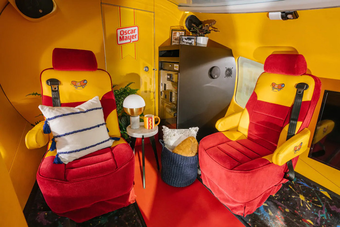 airbnb oscar mayer wienermobile hotdog chairs