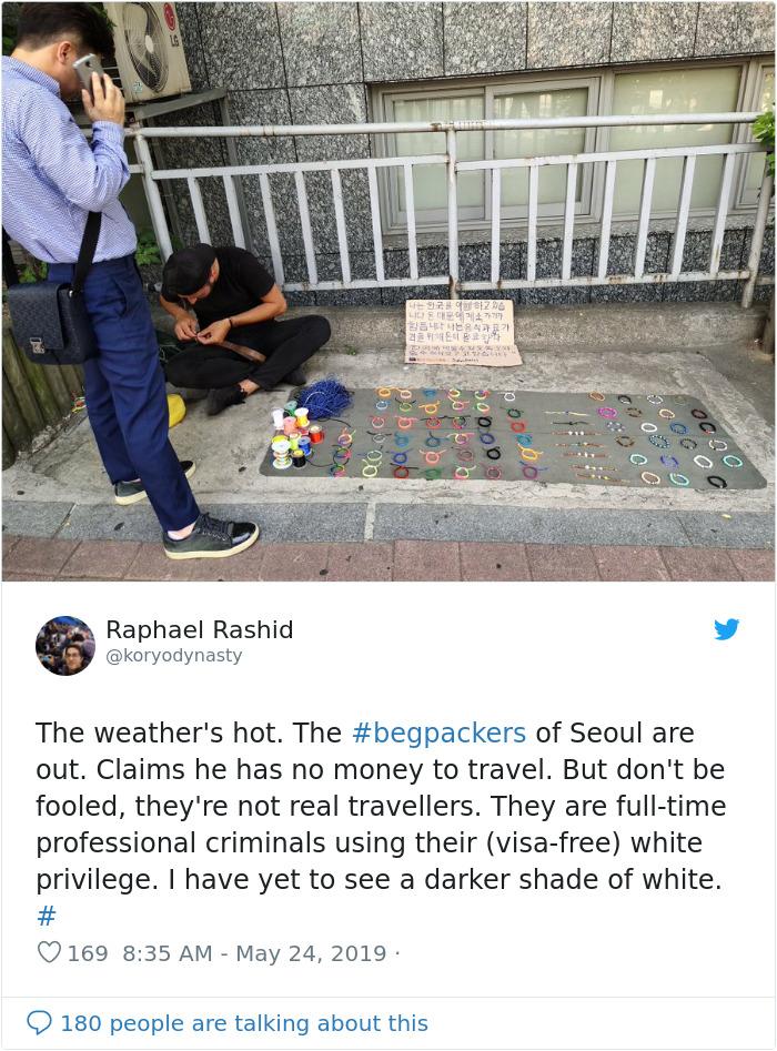 begpacker in seoul white privilege