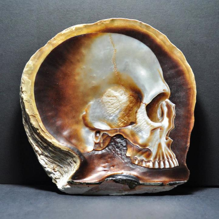 brownish gregory halili shell skull carvings