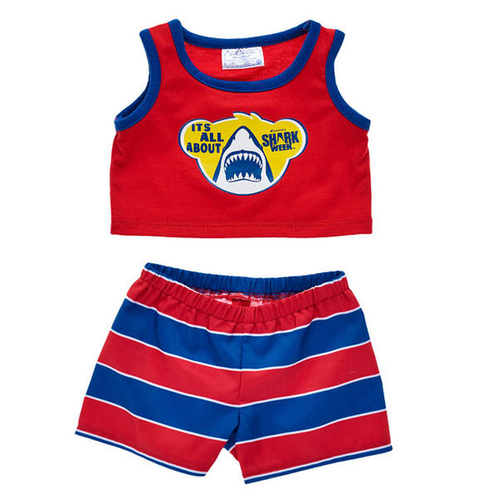 build-a-bear shark week collection outfit red