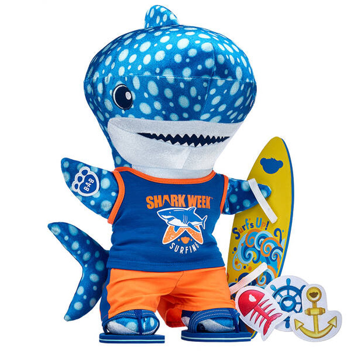 build-a-bear shark week collection plush blue whale gift set