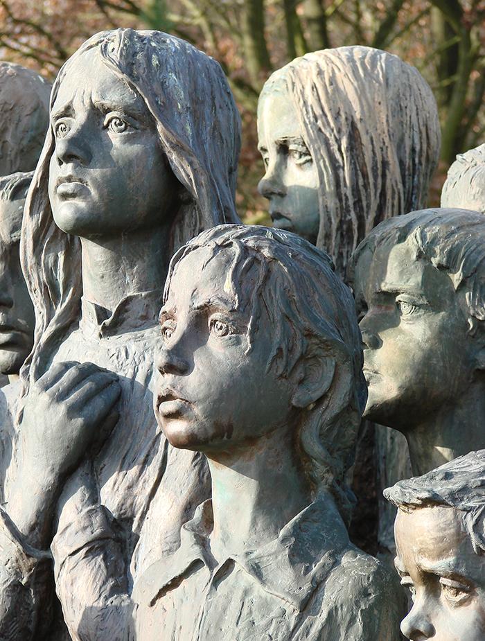 close up view children sculptures in lidice village czechoslovakia czech republic