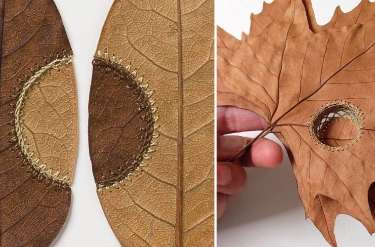 crochet dried leaves
