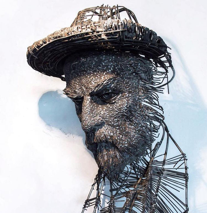 darius hulea metal wire sculptures george cosbuc