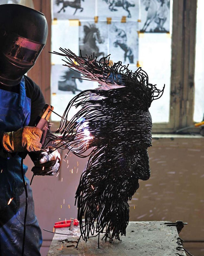 darius hulea weave solder metal wire sculptures