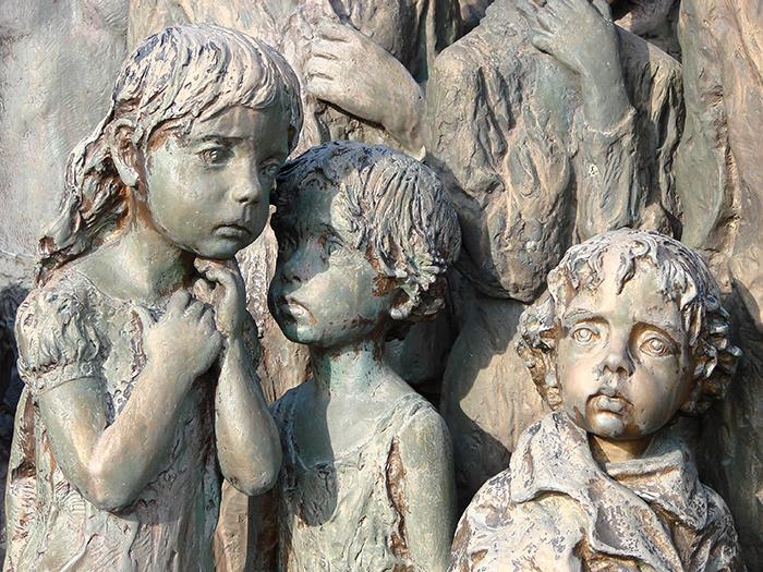 fearful children sculptures in lidice village czechoslovakia czech republic