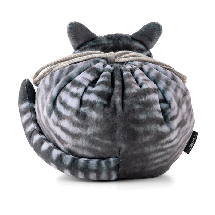 felissimo cat-shaped bags silver tabby back