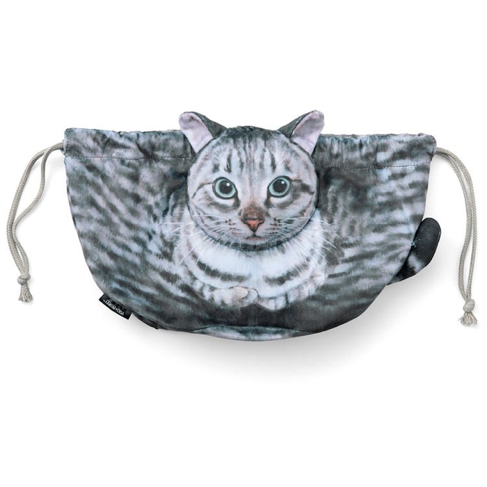 felissimo cat-shaped bags silver tabby