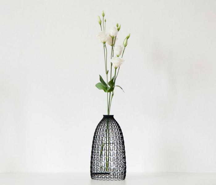 flower set up in 3d vases recycling plastic bottles libero rutilo