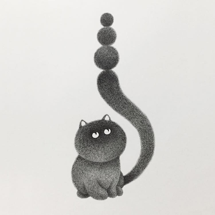 fluffy black cats ink drawings kamwei fong ball tail