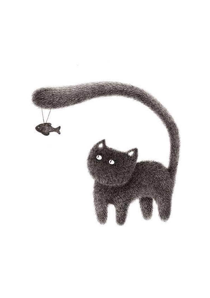 fluffy black cats ink drawings kamwei fong dangling fish tail