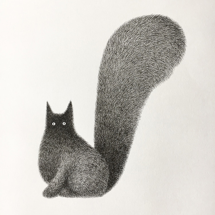 fluffy black cats ink drawings kamwei fong giant tail