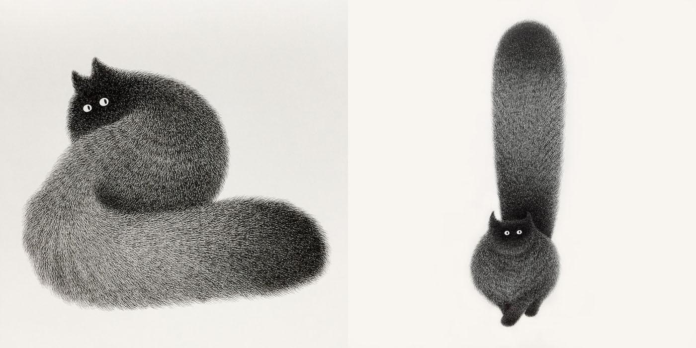 Soft Cat Food >> Artist Kamwei Fong Re-imagines Fluffy Black Cats As ...
