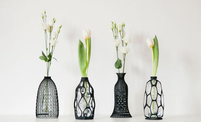 four 3d vases recycling plastic bottles libero rutilo