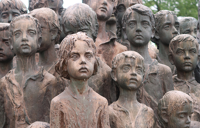 front facing children sculptures in lidice village czechoslovakia czech republic