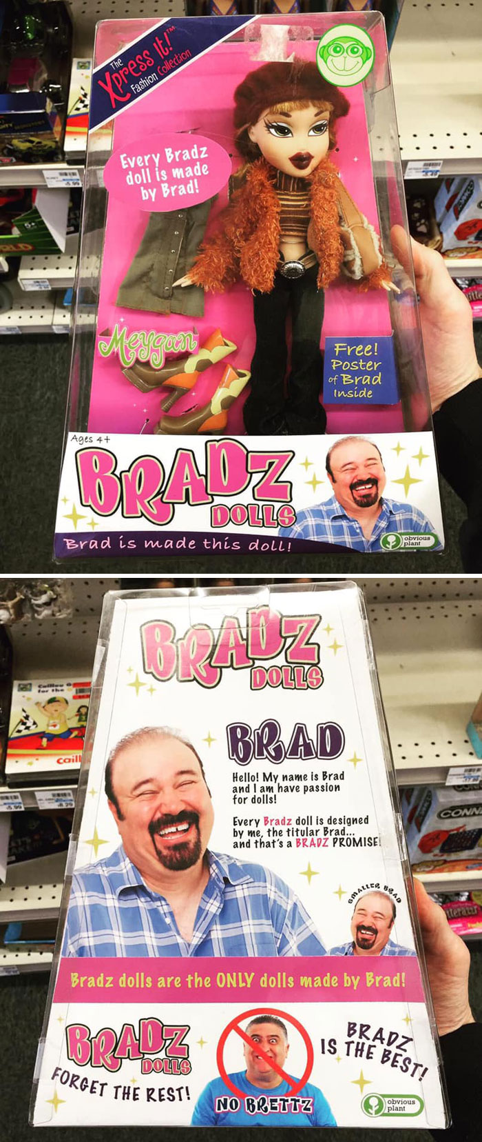 funny fake products obvious plant bradz doll