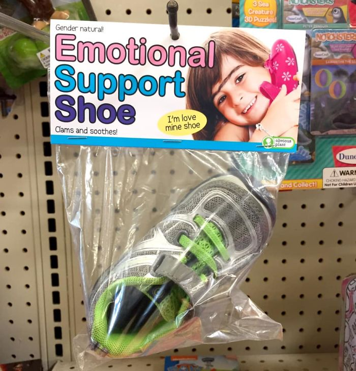 funny fake products obvious plant emotional support shoe