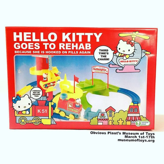 funny fake products obvious plant hello kitty goes to rehab