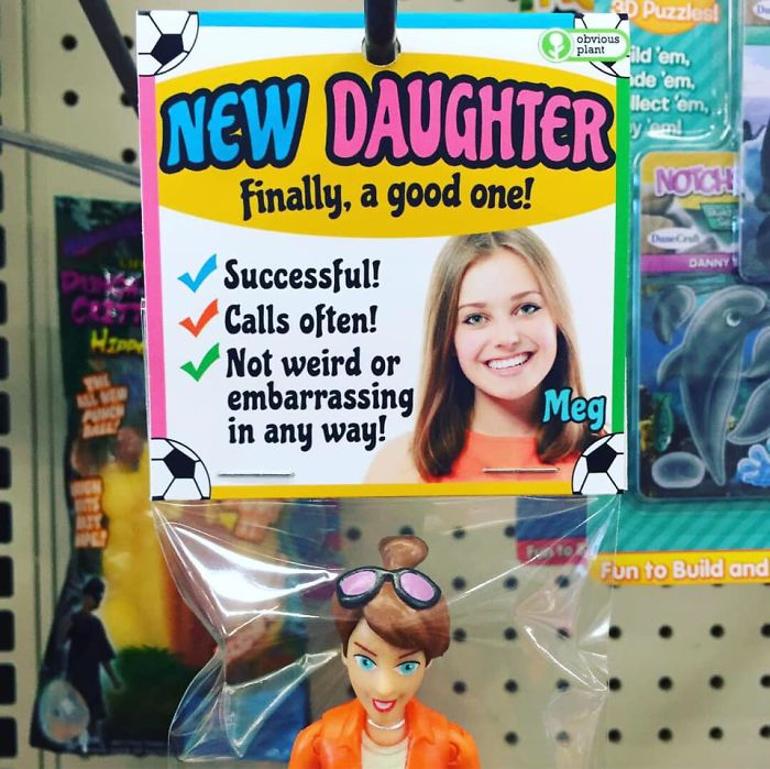 funny fake products obvious plant meg daughter