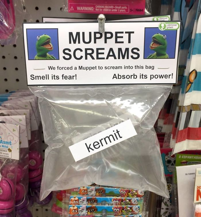 funny fake products obvious plant muppet scream