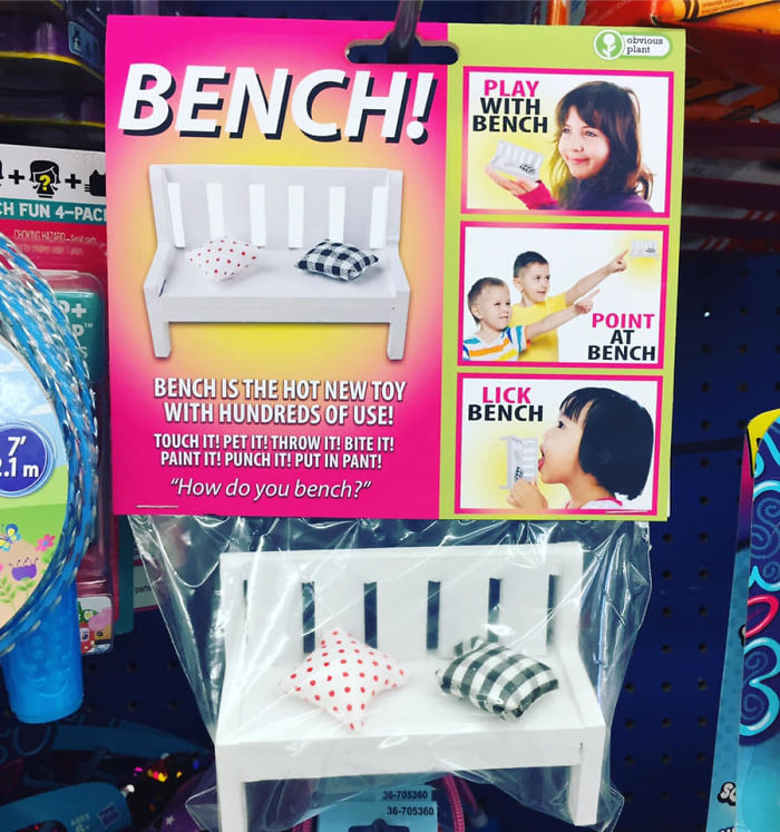 funny fake products obvious plant toy bench
