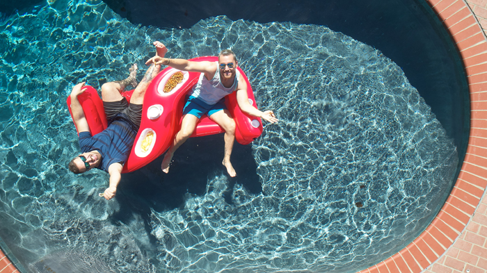 heluva good dip pool float lance bass joey fatone top view