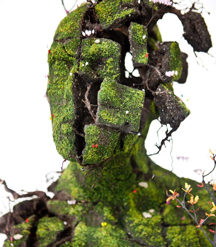 human face emeric chantier plant sculptures