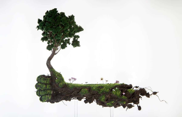 human hand emeric chantier plant sculptures