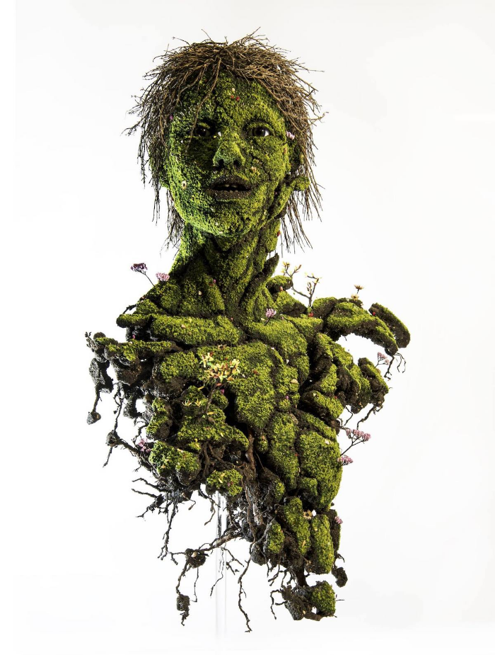 human with face emeric chantier plant sculptures