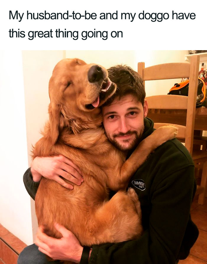 husband-to-be bonds with dog