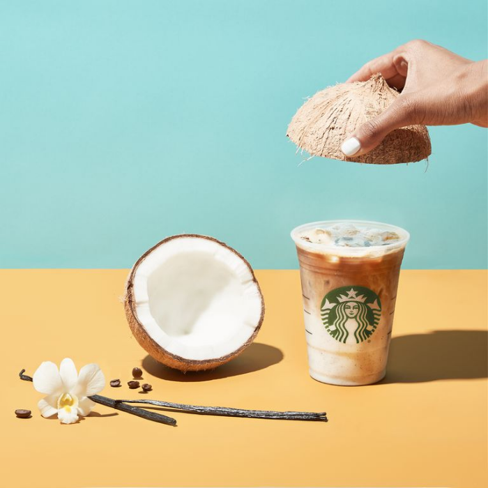 iced vanilla coconut milk latte starbucks getting rid of all straws by2020